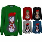Women's XMAS Christmas 3D Hat Scarf Ladies Festive Penguin Knitted Jumper