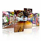 BANKSY Subway 1 Canvas 4A-RH Framed Printed Wall Art ~ 4 Panels