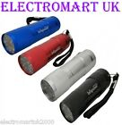 9 LED ULTRA BRIGHT METAL METALLIC TORCH 4 COLOURS INCLUDES BATTERIES