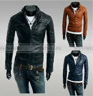 Men's Korean Slim Multi Zipper Button PU Leather Jacket Coat A1925 FKS