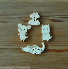 Novelty Wooden Buttons - Animal - Crocodile - Snake - Mouse - Cow - Kids -Cards