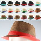 Concise Men's Leather Straw Summer Fedora Trilby Cuban Style Dress Plain Caps