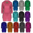 Womens Hooded Shorts Jumpsuit Ladies All In One Piece Onesie Playsuit 8 10 12 14