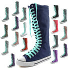 Woman Canvas Mid Calf Tall Boots Casual Sneaker Punk Flat Ocean Blue Shoelace