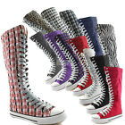 Woman Canvas Mid Calf Tall Boots Casual Sneaker Punk Flat Clean Grey Shoelace
