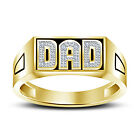 """New Look 14K Gold Plated 925 Silver Black Enamel Father's Day Special """"DAD"""" Ring"""