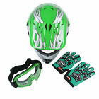 Youth Kids Green Flame Dirt Bike ATV Motocross Helmet MX+Goggles+Gloves S M L XL