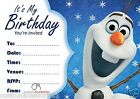 OLAF FROZEN PARTY INVITATIONS KIDS CHILDREN'S INVITES BIRTHDAY A5 SIZE