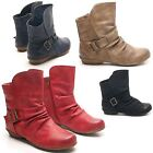 NEW WOMENS COWBOY BOOTS COMFY ROUCHED SLOUCH BIKER RIDING ANKLE BOOTS UK SIZE