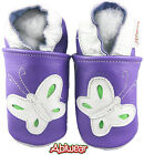 Lilac Butterfly Girls Soft Leather Baby Shoes 0-6m,6-12m,12-18m Pram Kids Walker