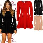 Women's Celeb Khloe 8 Button Padded Shoulders Ladies Flare Skater Party Dress