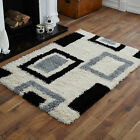 NEW SMALL-MEDIUM-LARGE IVORY CREAM BLACK GREY BOX PATTERN NON SHED SHAGGY RUGS