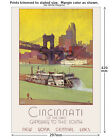 NY Central - Cincinnati - Railroad Travel Poster [6 sizes, matte+glossy avail]