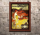 American Crescent Bicycles Vintage Poster Print [4 sizes, matte+glossy avail]