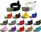 Military Web Canvas Belt Mens Womens Silver Metal Slider Buckle 56\