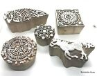 Lot Of 5 Pcs Indian Wooden Textile Stamps Hand Carved Brown Stamp Printing Block