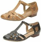 Ladies Clarks Henderson Luck Leather Casual T-Bar Sandal Shoes D Fitting