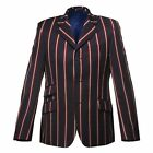 Merc London Striped Classic Mod Hemmingway Boating Blazer/Jacket In Navy 36-48