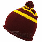 Unisex Knitted Bobble Hat Harry Potter Style Wizard Maroon Yellow School