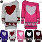 Womens Ladies Aztec Love Heart Print Slash Neck Off Shoulder Knitted Tunic Dress
