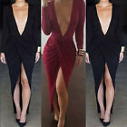 Celeb Women's Going Out Club Bodycon Deep V Plunge Low Cut Party Midi Dress PLUS