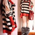 Fashion Women Korean Dress Loose Bat Long Sleeve Stripe Blouse Tops Knit Shirt