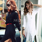 Hot Fashion Womens Loose Chiffon V Neck Long Sleeve Top Blouse Tee Shirt Dress