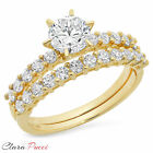 3.0 CT Engagement Bridal Ring band set Round Cut SOLID 14k Yellow Gold