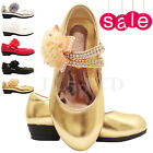 Girls Kids Children Wedding Bridesmaid Flower  Party Casual Low Heel Shoes  7-3