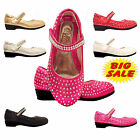 Girls Kids Children Velcro Wedding Bridesmaid Glitter Party  Casual Shoes  7-3