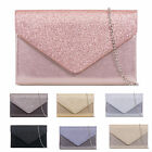 GLITTER ENVELOPE PARTY EVENING PUB WEDDING BRIDAL CLUTCH HANDBAGS