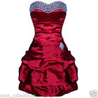 DIAMONTE DEEP RED SATIN PUFFBALL PROM EVENING PARTY COCKTAIL DRESS FAULTY 8-16