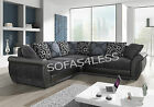 new large shannon leather & fabric corner sofa 3+2 seater armchair - black grey