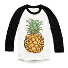 Pineapple Printed Baseball Top Hipster Urban Long Sleeve Mens Girls Fashion Top