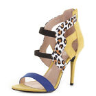 WOMENS HIGH HEEL YELLOW LEOPARD CAGE PEEPE TOE STRAPPY SANDALS SHOES SIZE