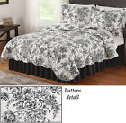 Collections Etc Francesca Black And White Scalloped Floral Quilt