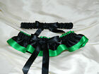 Emerald Green and Black Garter Set Wedding Prom INCLUDES Tossing Garter & Charm