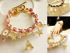 Fashion Jewelry Multielement Leather Rope Crystal Handmade Bracelet JW126 new