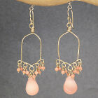 Artisan Earrings Hammered Drops 14K Gold Filled Rose Gold Sterling Pink Coral