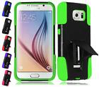 For Samsung Galaxy S6 Dual Layer Hybrid T Kickstand Cover Case