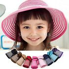 Girls Toddler Children Summer Beach Sun Folding Wide Brim Straw Hat Cap FKS