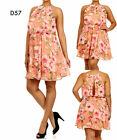 D57 New Womens Mock Halter Formal Party Evening Wedding Floral Plus Size Dress