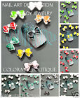 #CA110  3D Ribbon Bow Alloy Jewelry Glitter Slice Nail Art Tips DIY Decoration