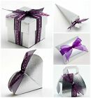 Luxury DIY Wedding Christmas Anniversary Favour Gift Boxes Shiny Silver Silk