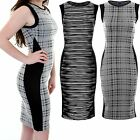 Womens Midi Knee Length Sleeveless Tartan Check Zebra Stripe Bodycon Dress