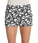 DVF Diane Von Furstenberg Embroidered Casual Shorts Napoli Floral Black & White