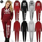 Womens Ladies Casual Addicted Weed Cannabis Leaf Hoodie & Joggers Tracksuit Set