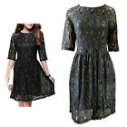 Black Lace Gold Thread Embellishment Party Dress Size 10, 12, 14, 16,18