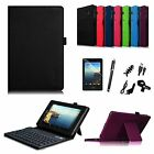 For Verizon Ellipsis 4G LTE Tablet Folio Cover Case Bluetooth Keyboard Bundle