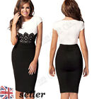 UK Celeb Womens Ladies Formal Lace Bodycon Pencil Cocktail Party Evening Dress